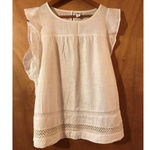 Delicate White Cotton Top - Tall Size
